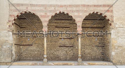 Three adjacent arches on stone wall, Medieval Cairo, Egypt