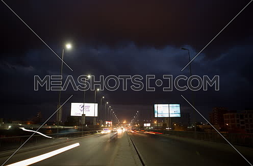 Fixed shot for traffic on Suez Canal Bridge at Alexandria at night