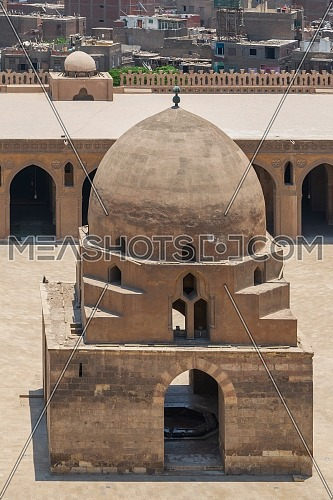 Aerial view of ablution fountain at the courtyard of Ibn Tulun public historical mosque, Old Cairo, Egypt