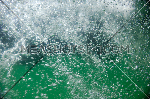 fresh water bubbles splash with green background