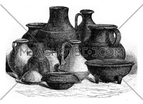 Gallic pottery, vintage engraved illustration. Magasin Pittoresque 1873.