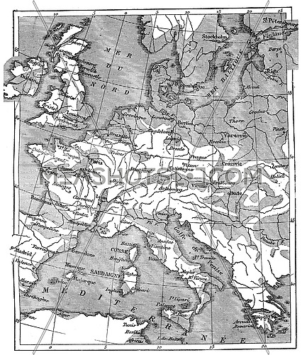 Map showing the extent of the area that was covered by the sea since the beginning of the Eocene period, vintage engraved illustration. Earth before man – 1886.