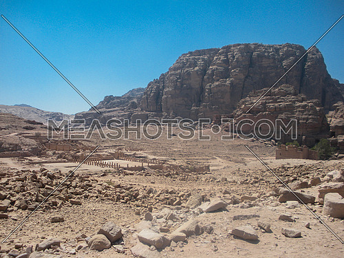 A desert canion with a historical archaeological remains , Petra, Jordan