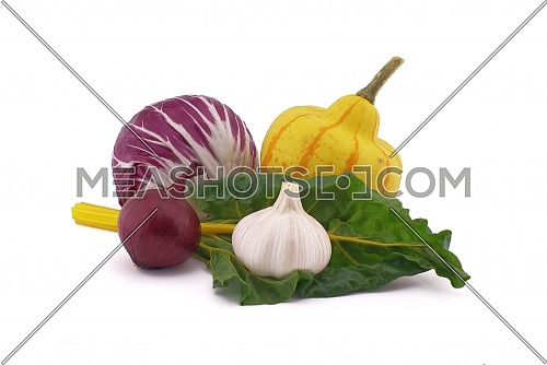 Leaf beet, squash, radicchio salad, onion and garlic isolated on white background