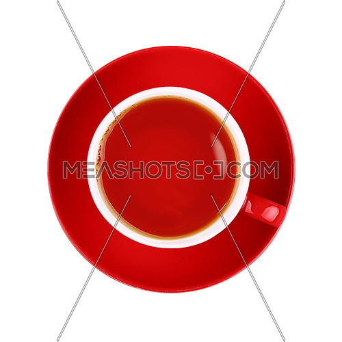 Full cup of black tea on red porcelain saucer isolated on white background, close up, elevated top view, directly above