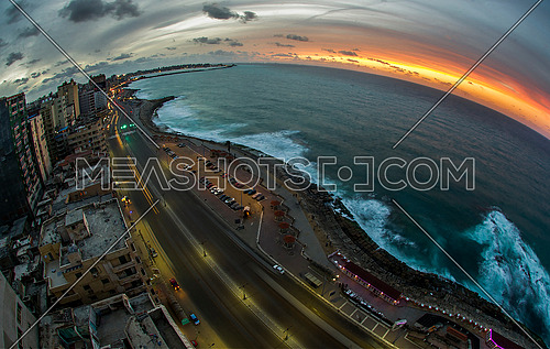 Alexandria Corniche at sunset from the Sporting area