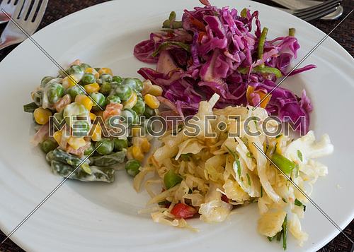 Pictured are three types of salads served on white dish at the restaurant.
