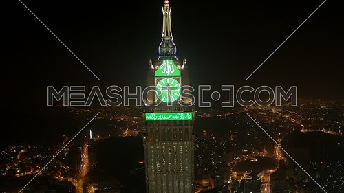 Ariel Shot from drone for Mekkah City showing Kaaba and Royal Clock Tower at Night.