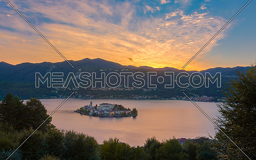 A View of San Giulio Island at sunset, Lake Orta, Italy