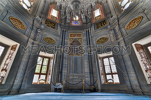 Interior of Nuruosmaniye Mosque showing the Niche (Mihrab), marble wall and stained glass windows, an Ottoman Baroque style mosque completed in 1755, located in Shemberlitash, Fatih, Istanbul, Turkey
