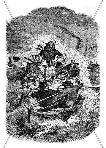 Back of a picnic at sea, by George Cruikshank, vintage engraved illustration. Magasin Pittoresque 1878.