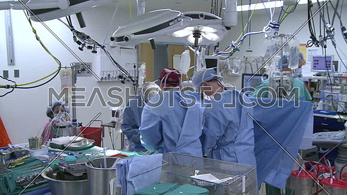 long Pan Right shot for operating room and medical team during heart surgery