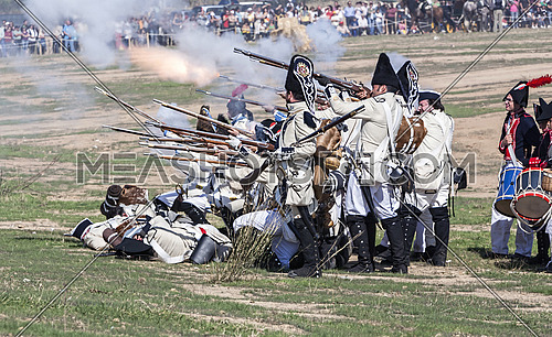BAILEN, SPAIN - october 5, 2008: Taken in Bailen Jaen province, during the commemoration of the anniversary of the battle of bailen of 1808, Spanish soldier firing a gun during the Representation of the Battle of Bailen, BailEn  JaEn province, Andalusia, Spain