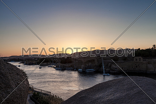 Long Shot for the River Nile in Aswan at sunset