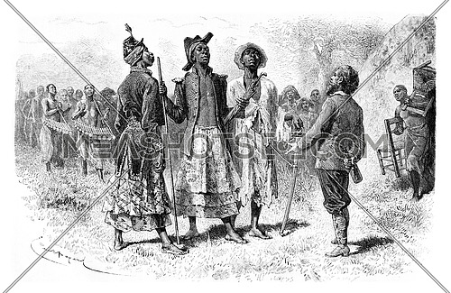 Three Princes of Dombe of the Mandombe Tribe in Congo, Central Africa, drawing by Bayard based on a sketch by Serpa Pinto, vintage engraved illustration. Le Tour du Monde, Travel Journal, 1881