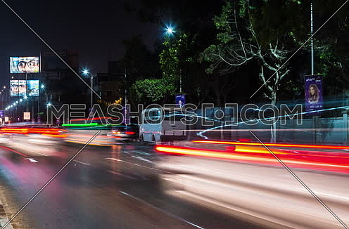 Track Right Shot for traffic at Salah Salim Street at Night