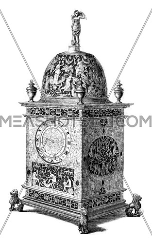 Clock of the sixteenth century, vintage engraved illustration. Magasin Pittoresque 1861.
