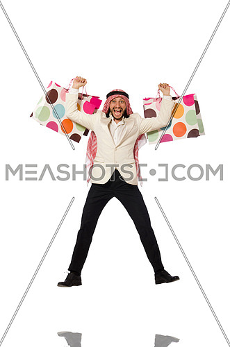 Arab man with shopping bags on white