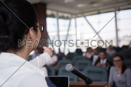 businesswoman speaking and have presentation on conference