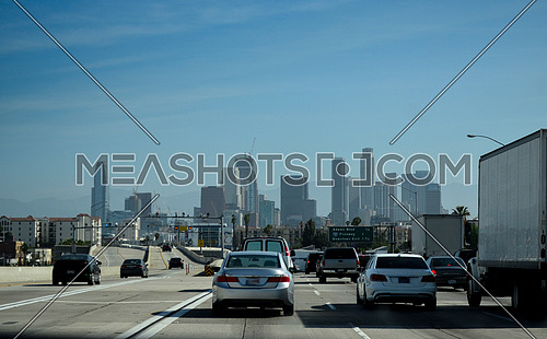 On the way to  downtown LA from the freeway/ highway