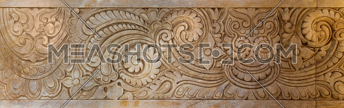 Marble Hindu style floral patterns carved into the exterior wall of Baron Empain Palace, Heliopolis district, Cairo, Egypt
