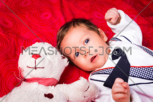 Portrait of newborn boy with blue eyes in her cozy red bed. With teddy bear. Lovely toy