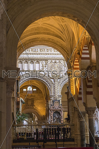 CORDOBA, SPAIN - September, 27, 2015:  Interior of Mosque Cathedral, a medieval Islamic mosque that was converted into a Catholic Christian cathedral, UNESCO World Heritage Site, Cordoba, Spain