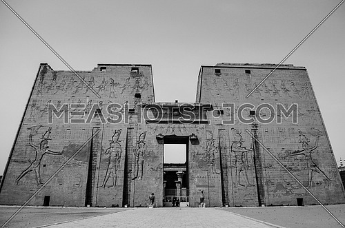 The entrance of The Temple of Edfu graded by Horas god on the west bank of the Nile in Edfu, Egypt.