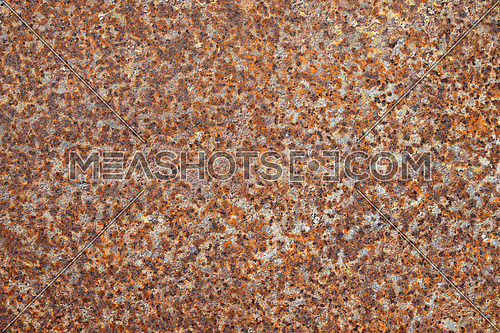Old vintage bright rust stains of corroded surface over grey steel metal sheet