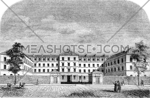 New buildings of the Royal Institution for Blind Youth, boulevard des Invalides, vintage engraved illustration. Magasin Pittoresque 1843.
