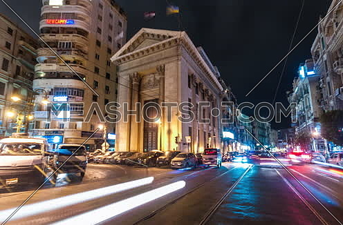 Track Right Low angel shot for Stock Market Bulding in Alexandria at night