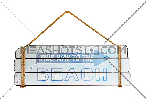 Close up blue old wooden directional arrow sign with this way to the beach text isolated over white background