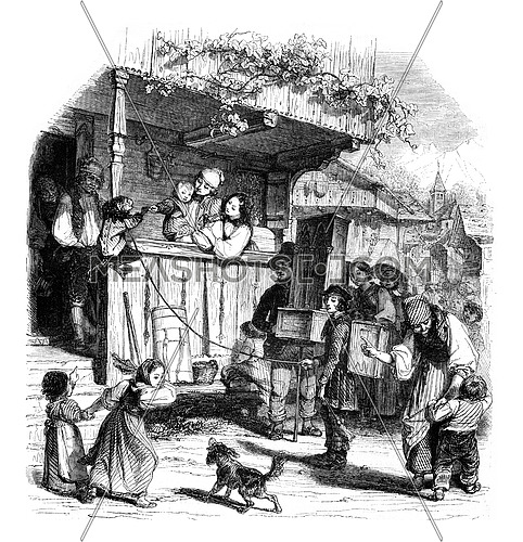 The monkey in the village, vintage engraved illustration. Magasin Pittoresque 1852.