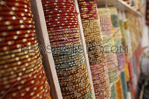 a close up on Colorful Bracelets in a jewelry shop