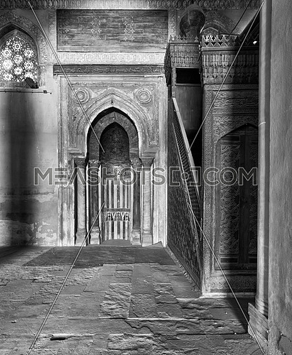 Black and White Shot of Mihrab (Niche) and Member (Platform) of Ibn Tulun Mosque, Cairo, Egypt