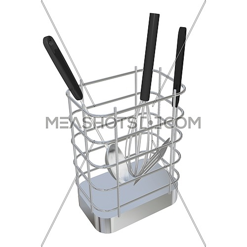 Stainless steel wire basket rack or holder with frying laddle, spoon laddle, and egg beater, 3D illustration, isolated against a white background