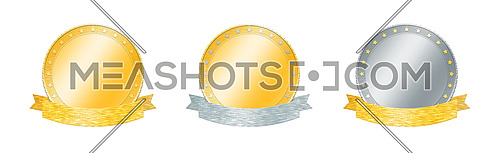 Set of three gold and silver achievement and award badges or medals with metal ribbon banners isolated on white background