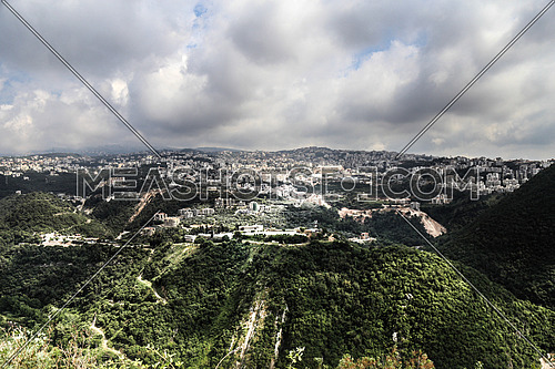 A landscape showing mountains and green valley in Lebanon