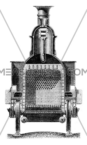 Cross section through the firebox, vintage engraved illustration. Magasin Pittoresque 1861.