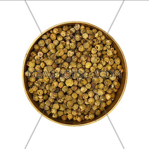 Close up one bronze metal bowl full of green pepper peppercorns isolated on white background, elevated top view, directly above
