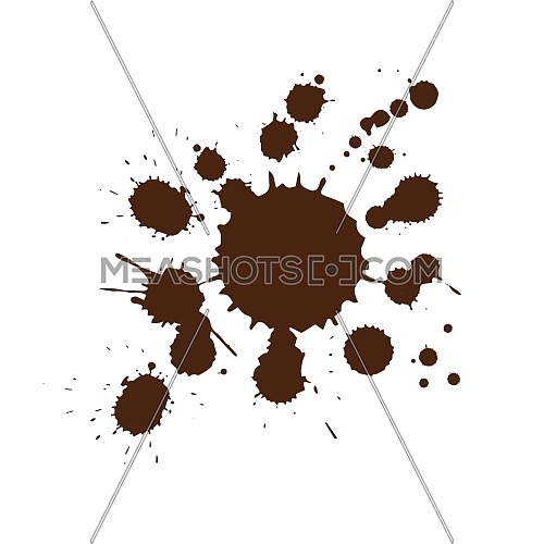 Vector illustration of brown coffee drop stains isolated on white background