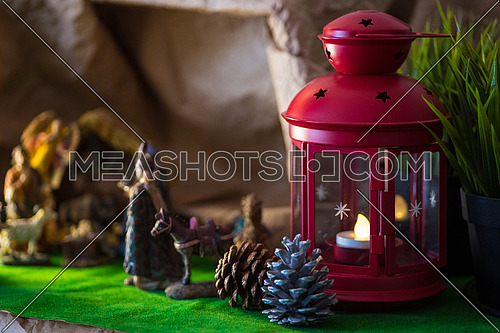 Traditional Coptic Christmas Creche Side View with the Lamp and candle and Pino