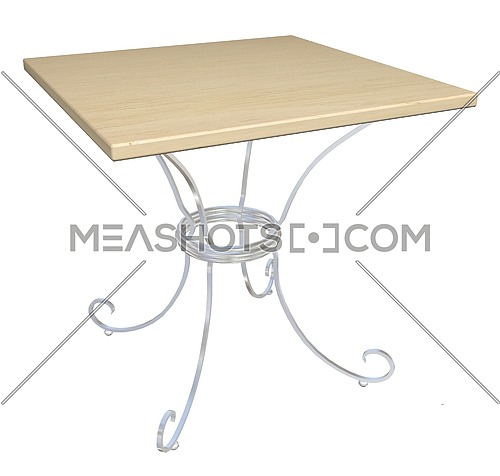 Square wooden cafe table, cast-iron base,  3D illustration, isolated against a white background.