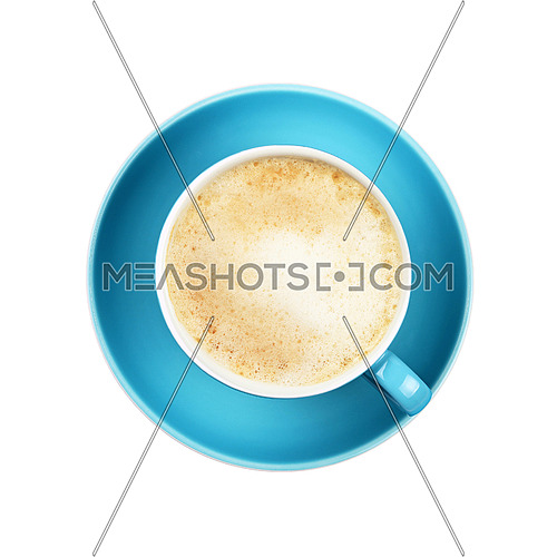 Full cup of latte cappuccino coffee with milk froth on blue saucer isolated on white background, close up, elevated top view