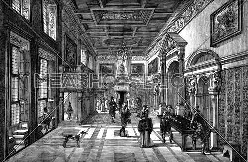 Louvre painting, Hall of a castle of the seventeenth century, vintage engraved illustration. Magasin Pittoresque 1876.
