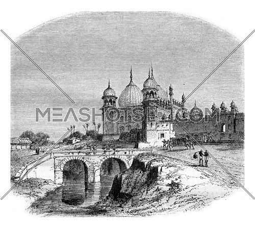British India, The Sikandra, Akbar's tomb in 5000 from Agra, the capital of the northwestern provinces, vintage engraved illustration. Magasin Pittoresque 1857.