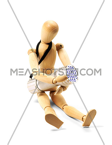 wood mannequin and flashlight isolated on white background