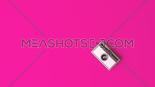 Retro vintage Photo Camera on a fuchsia Background