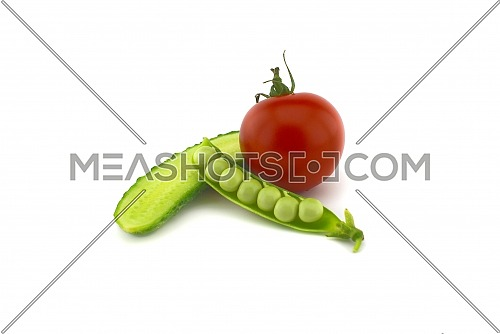 Red ripe tomato, peas in a pod and cucumber isolated on white background