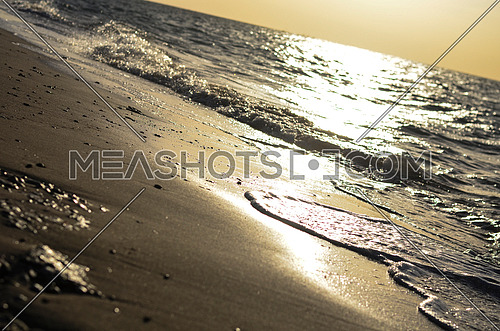 A close up of the beach waves moving on sand during sunset golden hour and sun light reflects on water